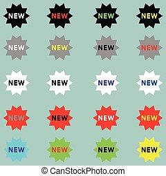 neu , verschieden, farbe, icon., zeichen