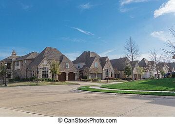 neu , wohnhaeuser, zwei geschichte, reihe, marke, upscale, dallas, texas, nachbarschaft, häusser, vororte