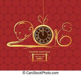 neu , year., design, affe, chinesisches