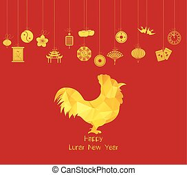 neu , year., jahr, chinesisches , hahn