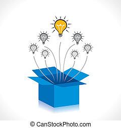 neue idee, oder, denken, kasten heraus