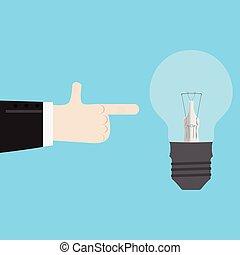 neue idee, zeigen finger
