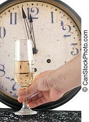 neue jahre, champagner