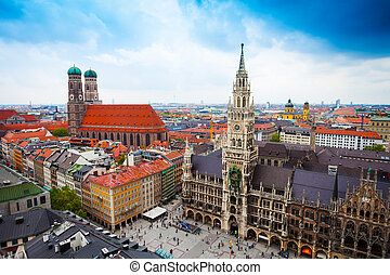 neues, glockenspiel, rathaus, baviera, frauenkirche