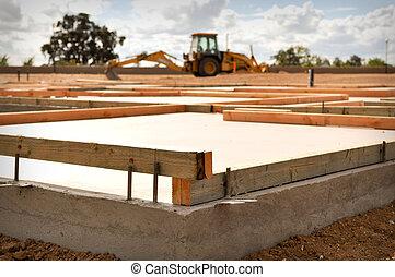 neues heim, grundlage, mit, traktor, in, hintergrund
