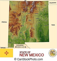 neues mexiko, grafschaften, landkarte