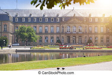 Neues Schloss (New Castle). Palace of the 18th century in baroque style in Germany, Stuttgart