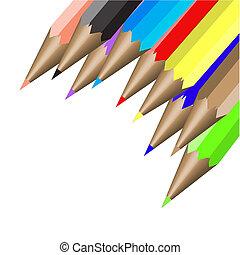 neuf, couleur, crayons, illustration, vecteur