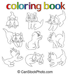 neuf, livre, espiègle, ensemble, chatons, coloration