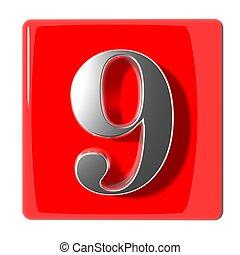 neuf, nombre, icône