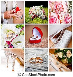 neuf, photos, mariage, collage