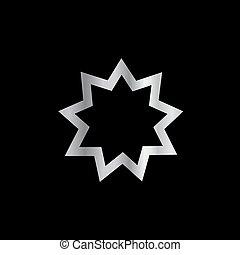 neuf, symbole, pointu, bahai, religion