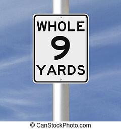 neuf, yards, entier