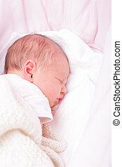 neugeborenes baby, korbwiege