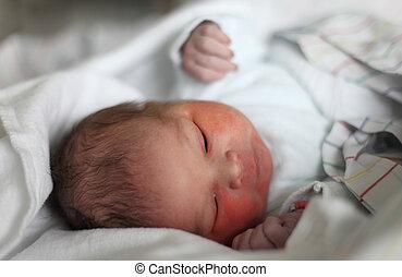 neugeborenes baby, minuten, nach, der, geburt