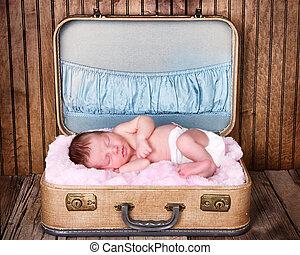 neugeborenes baby, säugling, eingeschlafen