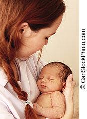 neugeborenes baby, sie, mutter