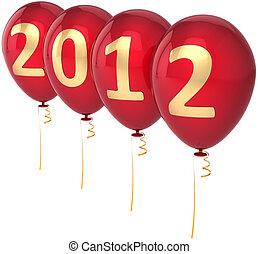 neujahrs, 2012, vorabend, luftballone