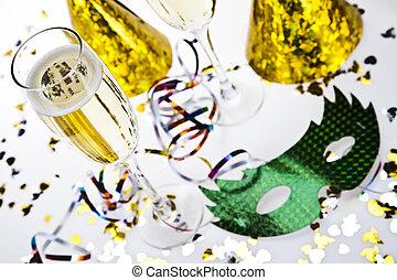 neujahrs, feier, champagner