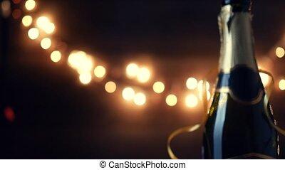 neujahrs, toast., champagner