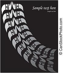 neumático, impresión, -, vector