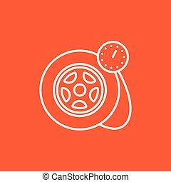 neumático, línea, presión, icon., calibrador
