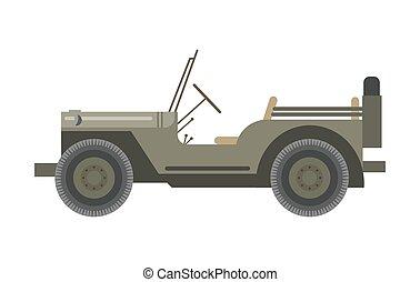 neumático, lanza, techo, atrás, sin, vehículo, militar