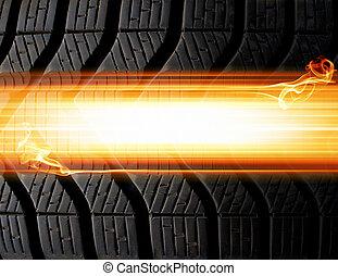 neumático, llamas, plano de fondo