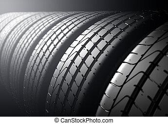 neumático, luz, foco, espalda, fondo., selectivo, pila