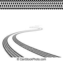 neumáticos, bobina, vector, terreno, rastro