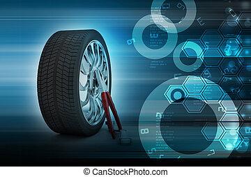 neumáticos, concepto, 3d, reemplazo