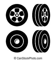 neumáticos, iconos, conjunto, blanco, fondo., vector