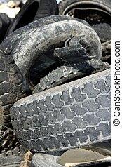 neumáticos, industria, fábrica, ambiente, ecológico, vehículo, reciclar, desperdicio