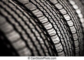 neumáticos, nuevo, marca, fila
