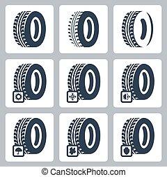 neumáticos, vector, conjunto, relacionado, iconos