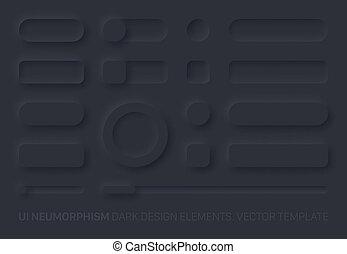 Neumorphic App Dark UI Design Elements Set Vector