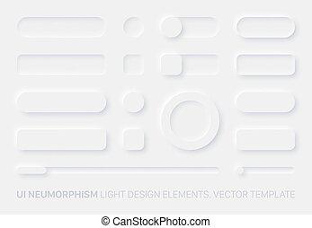 Neumorphic App Light UI Design Elements Set Vector