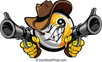 neun bälle, cowboy, teich, karikatur, shootout, billard