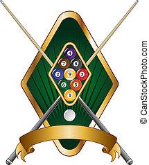 neun, emblem, design, kugel, banner