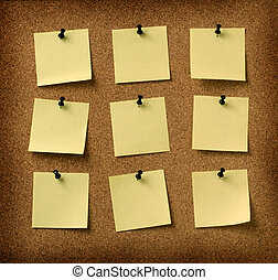 neun, gelber , notizen, festgesteckt, zu, grunge, kork,...