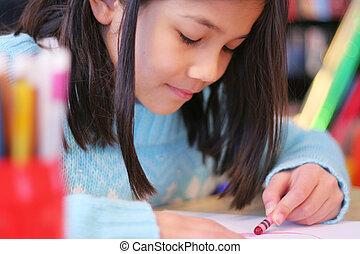 neun, jährige, zeichnung