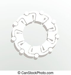 neun leute, logo., gruppe, personen