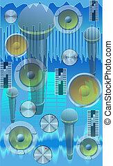 neurč. člen, abstraktní, hudební, illustration.