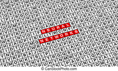 Neural Networks Words on 3D Cubes Background