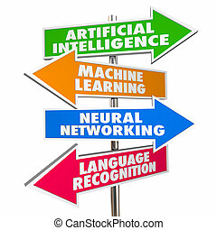 neurale, intelligenza, illustrazione, macchina, artificiale, cultura, segni, reti, 3d