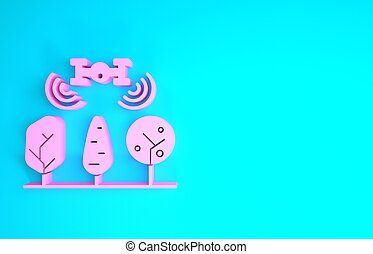 neuriën, blauwe , render, minimalism, achtergrond., controle, roze, technologie, company., boompje, smart, vrijstaand, concept., landbouwkundig, pictogram, illustratie, boerderij, innovatie, 3d