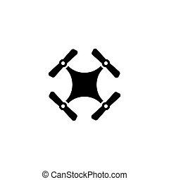 neuriën, quadcopter, plat, vector, pictogram