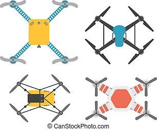 neuriën, quadcopter, vector, set.