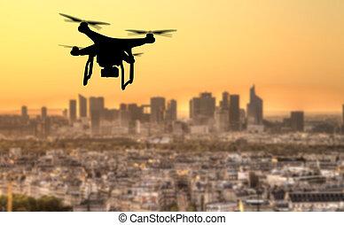 neuriën, silhouette, vliegen, boven, parijs, stad, panorama