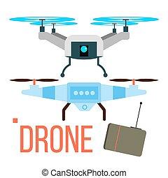 neuriën, vector., ver, luchtopnames, quadcopter., foto, video, delivery., vrijstaand, plat, spotprent, illustratie